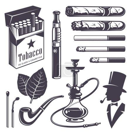Illustration pour Ensemble d'éléments de tabac fumé vintage. Style monochrome. Isolé sur fond blanc - image libre de droit
