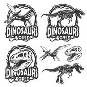 Set of dinosaurs world emblems