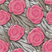 Růžové růže vzor bezešvé pozadí skleněný efekt