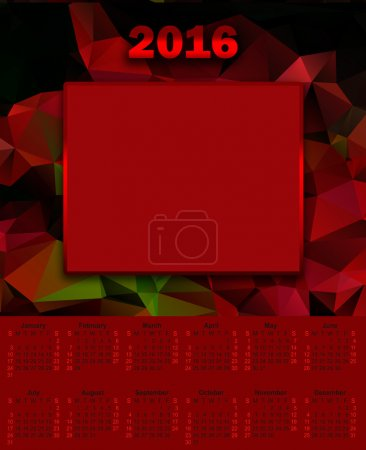 Illustration calendar for 2016 in the style of geometric polygon