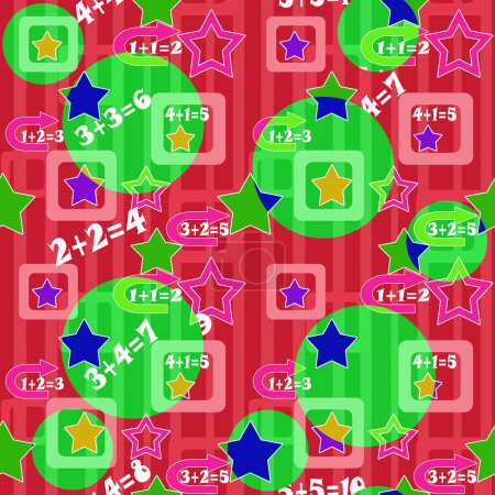 Colorful numbers and stars kids background seamless pattern