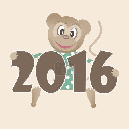 Happy new year 2016 illustration with toy monkey background