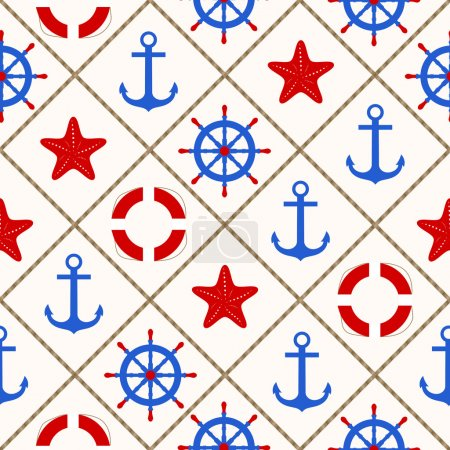 Seamless nautical pattern with sea theme elements on white