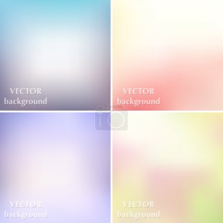 Illustration for Abstract colorful blurred smooth pastel soft colors vector backgrounds set EPS10 - Royalty Free Image