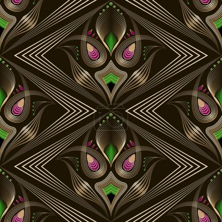 Seamless art deco modern pattern graphic ornament. Abstract styl