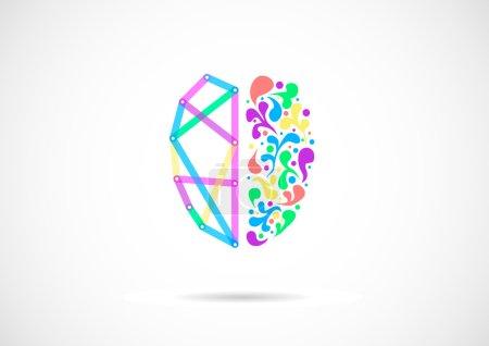 Illustration pour Concept de fonctions cérébrales gauche et droite, analytique vs créativité. Concept vectoriel - image libre de droit