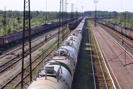 Top view of wagons with cisterns and railroad tracks