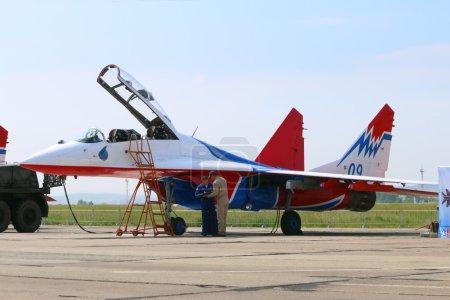 PERM, RUSSIA - JUN 27, 2015: Preparation for takeoff aircraft