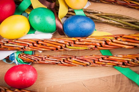 Easter whip on the wooden table