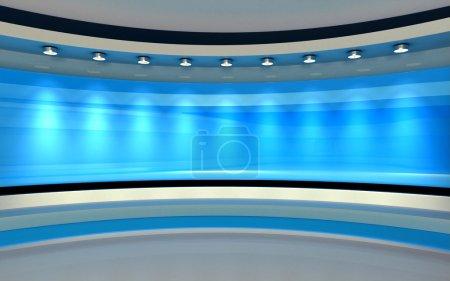 Photo pour Studio TV. Un studio de presse. La toile de fond parfaite pour n'importe quel écran vert ou chroma key production vidéo ou photo . - image libre de droit