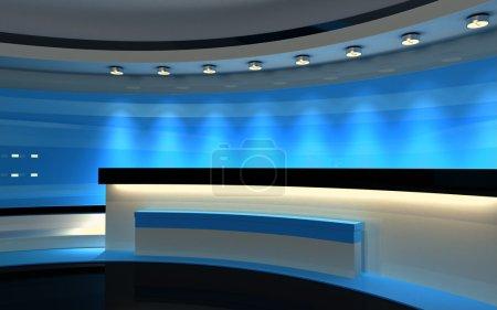 Photo pour Studio bleu. Studio TV. Un studio de presse. Fond d'écran pour toute production vidéo ou photo clé chroma ou écran vert. 3d rendu. Visualisation 3D - image libre de droit