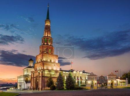 Falling tower of Syuyumbike in the Kazan Kremlin