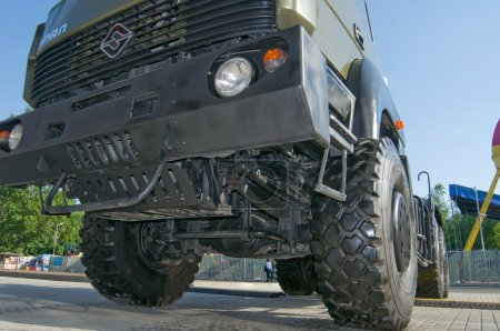 "Russian new truck ""Ural-6370"" at the exhibition ""Integrated safety and security-2014"", Moscow, VVC, bottom view of the front suspension"