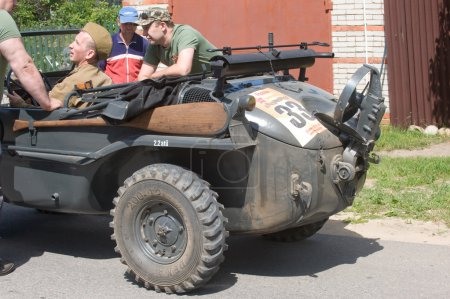 """German floating retro car Volkswagen Swimmwagen Typ 166 at the 3rd international meeting of """"Motors of war"""" near the town of Chernogolovka, Moscow region,  rear view"""