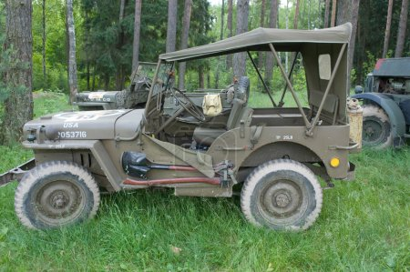 "American car Willys MB at the 3rd international meeting of ""Motors of war"" near the town of Chernogolovka, Moscow region , side view"