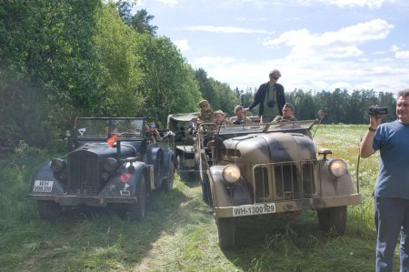 "Stop German retro cars Steyr and Horh-901 in the woods, 3rd international meeting ""Motors of war"" near the town of Chernogolovka, Moscow region"