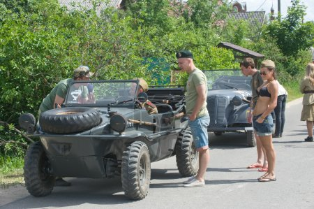 """Stop military retro cars on the road, the 3rd international meeting of """"Motors of war"""" near the city Chernogolovka, Moscow region"""