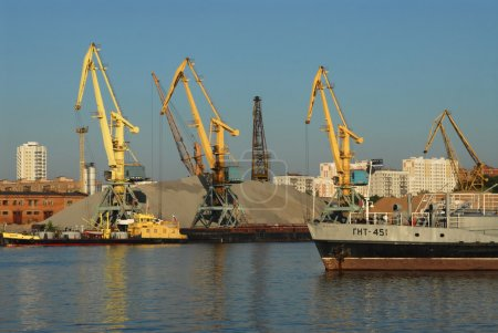 Port cranes in the Northern river port, Moscow
