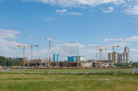 """Tushino airfield in the summer, a view of the construction of the stadium """"Spartak"""""""