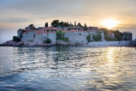 Sveti Stefan - Sant stefan in Montenegro at the sunset