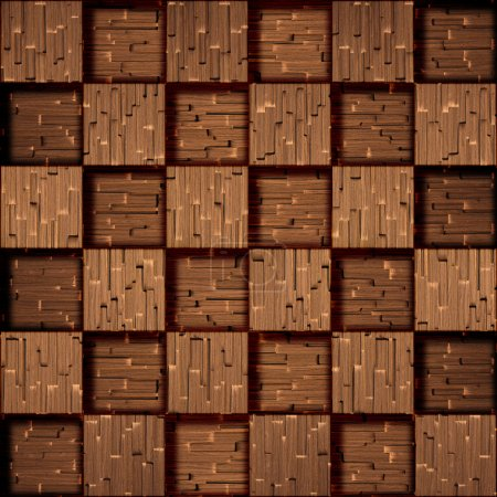 Photo pour Wooden blocks stacked for seamless background, stamped pattern in rosewood veneer - image libre de droit