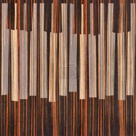 Abstract musical piano keys - seamless background - Ebony wood t
