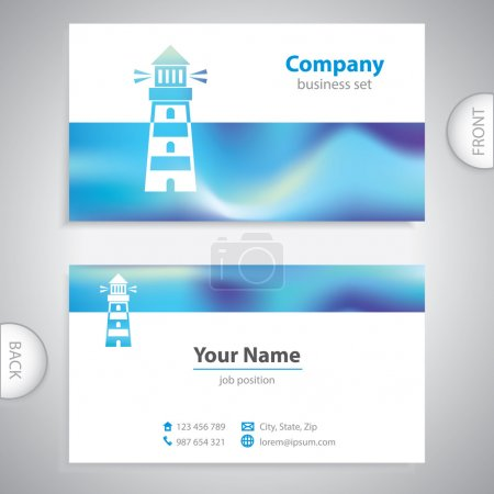 Business card - Lighthouse icon - signaling signs
