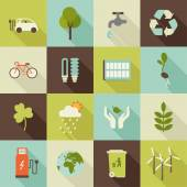Set of flat ecology icons with shadowssave earth concept icons