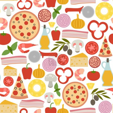 Seamless pattern with pizza icons