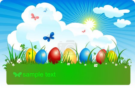 Coloured eggs in a meadow