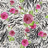 Animal skin and roses Seamless repeating pattern