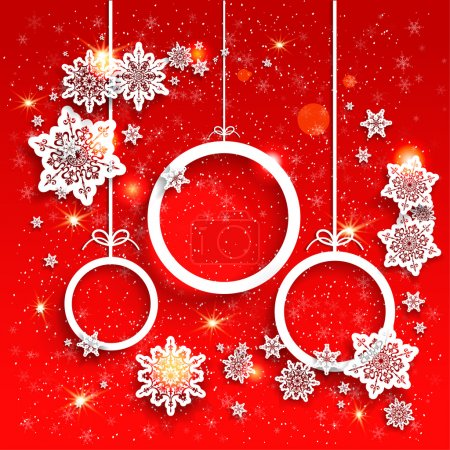 Red background and Christmas decoration