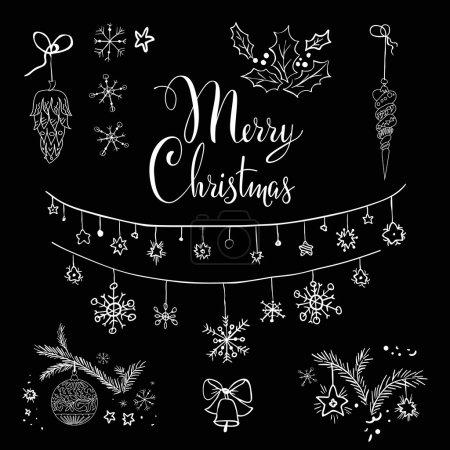 Christmas set on black board