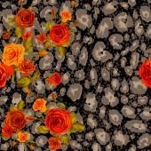 Leopard skin and orange roses seamless pattern