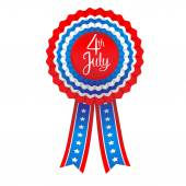 Holiday badge with ribbon