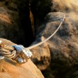 Iron twisted rope streched between rocks in climbe...
