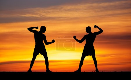 Silhouettes of two fighters on