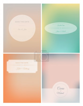 Set of retro invitation card on blurred background