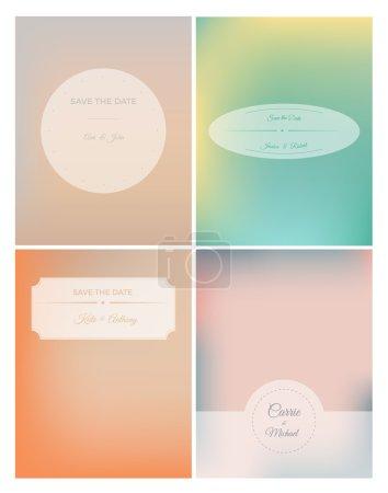 Set of retro invitation card on blurred background
