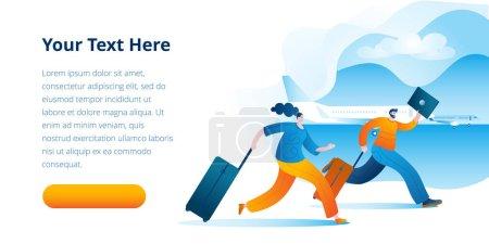Illustration pour Des passagers en retard avec une valise courent jusqu'à l'avion. Illustration vectorielle sur le sujet des retards et des voyages en avion. Modèle de bannière horizontale. - image libre de droit