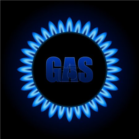 Blue natural gas flames on kitchen stove against b...