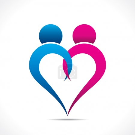 Creative couple icon or happy valentine day