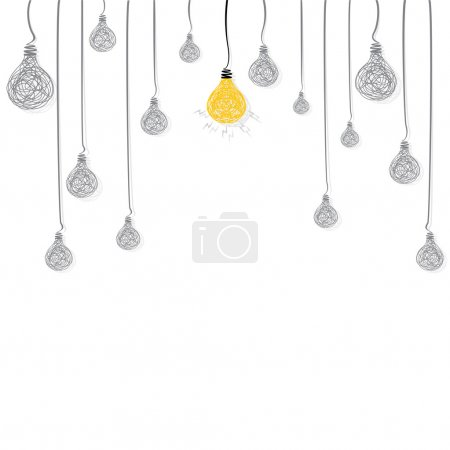 Illustration for Creative new idea bulb glow background vector - Royalty Free Image