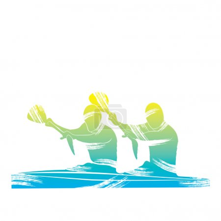 Two canoeists on a double kayak