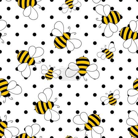 Illustration pour Modèle sans couture avec des abeilles sur fond à pois blancs. Petite guêpe. Illustration vectorielle. Adorable personnage de dessin animé. Modèle de conception pour invitation, cartes, textile, tissu. Style caniche. - image libre de droit