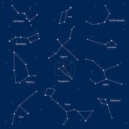 Constelaciones: cassiopeia, big dipper, cepheus, lyra, grus, cyg