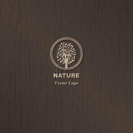 Illustration pour Logo de l'arbre vecteur sur fond de bois brun - image libre de droit