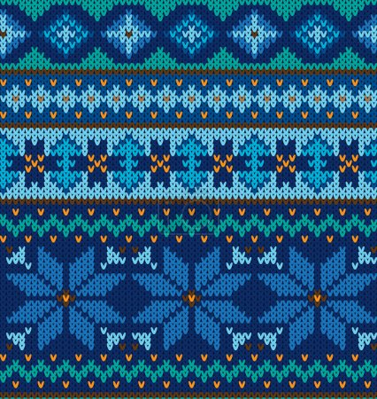 vector knitting seamless background with christmas ornament