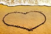 The heart shape on the sand