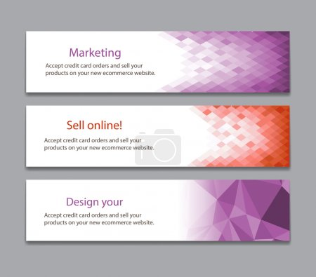 Illustration for Colorful horizontal banners with square motive - Royalty Free Image